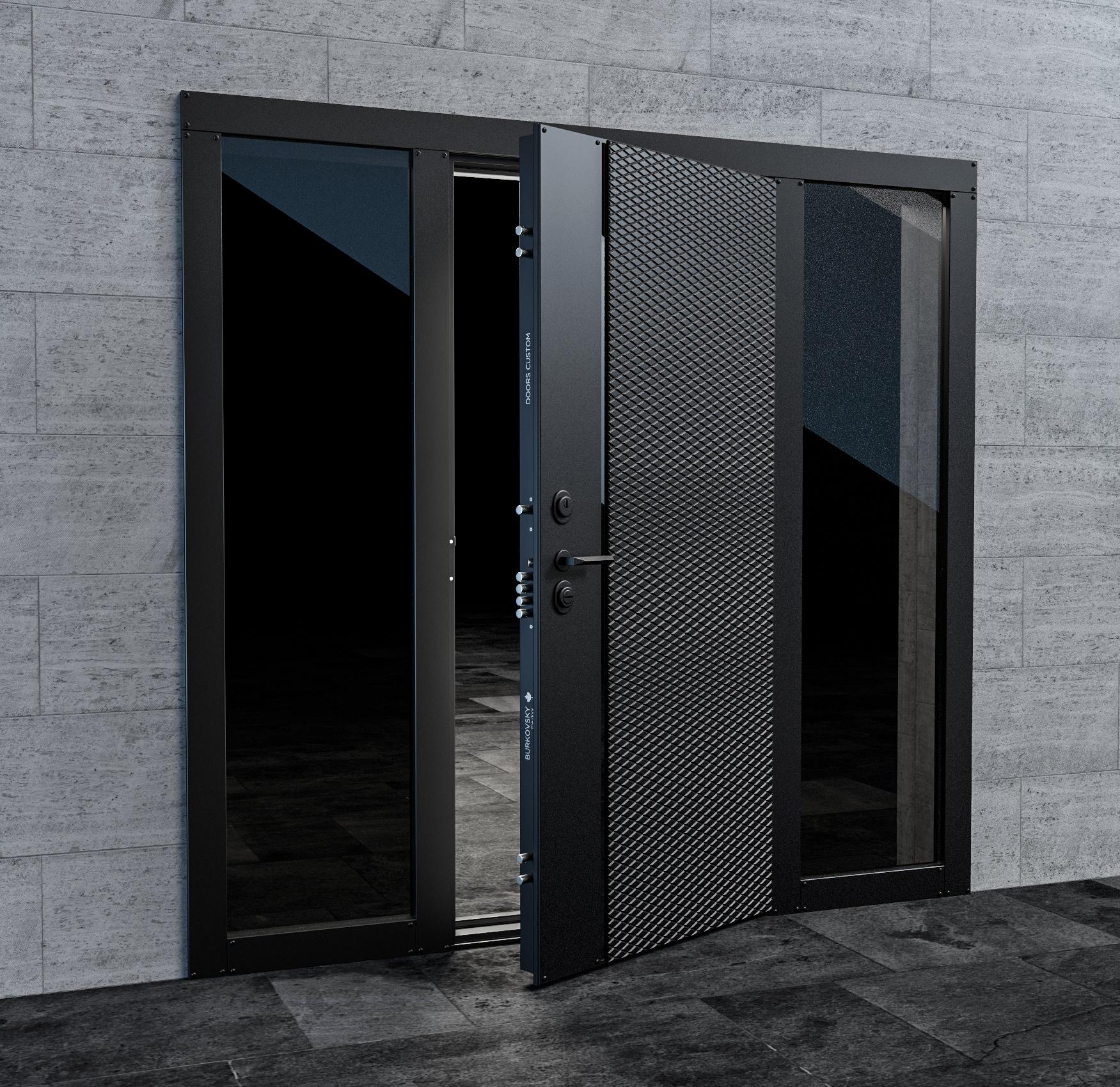Входная дверь с боковыми стеклянными фрамугами в стиле хайтек. Модель Credo2.