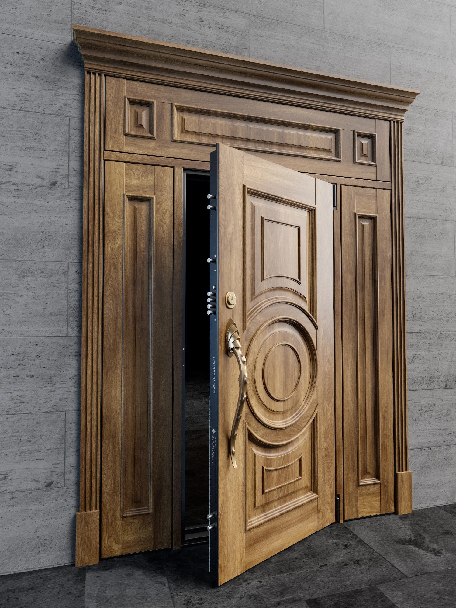 Входная дверь с фрамугами в классическом стиле. Модель - Argo diablo.