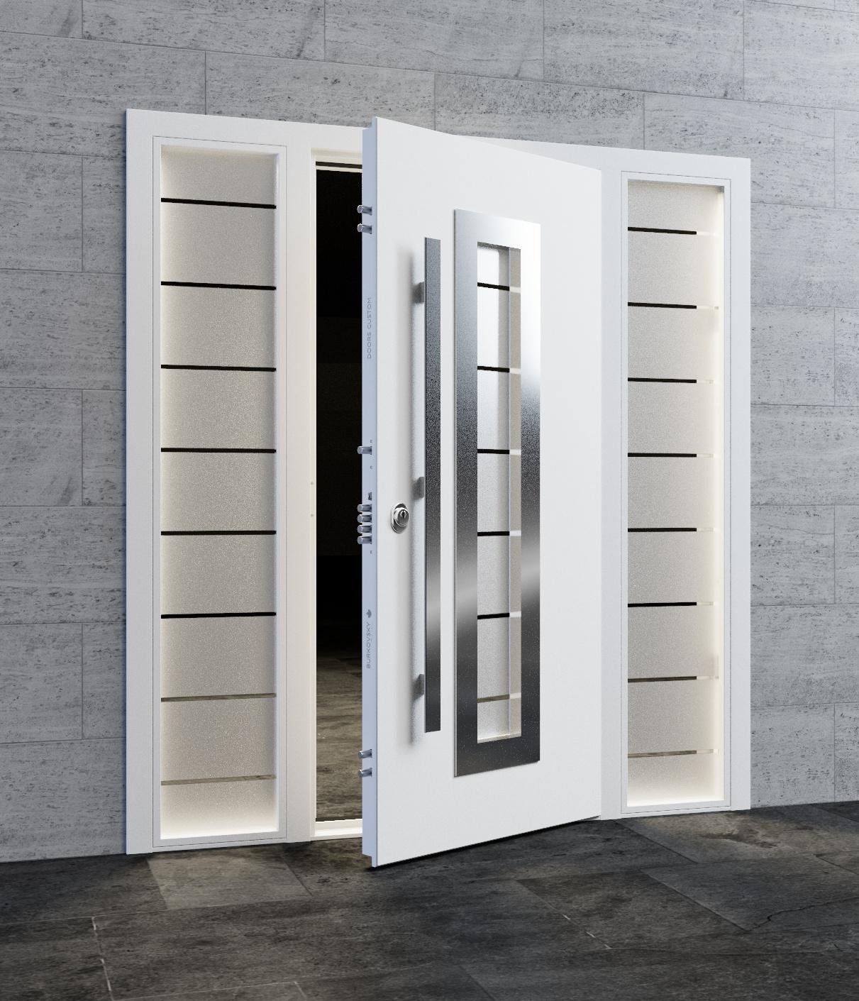 Входная дверь с боковыми стеклянными фрамугами в стиле хайтек. Модель Lymeo.