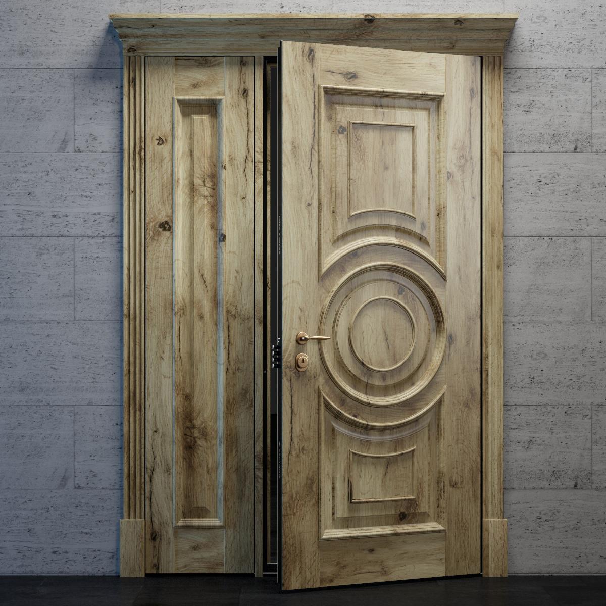 Входная дверь с глухой фрамугой в классическом стиле - модель Argo