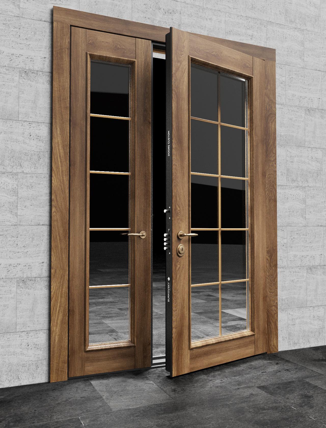Входная двустворчатая дверь со стеклом - модель Light
