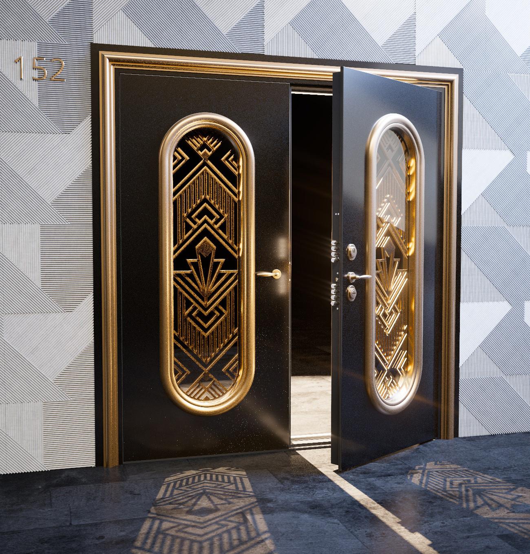 Дизайн входной двустворчатой двери со стеклом и ковкой - модель Olimpus