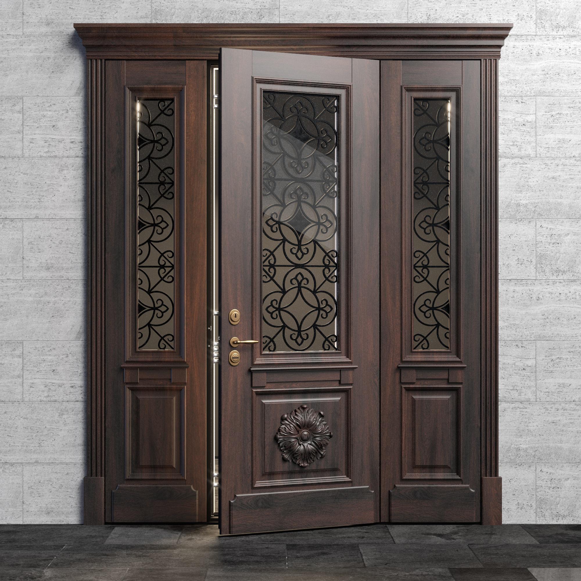 Входная дверь - модель Flower с боковыми фрамугами со стеклопакетом и ковкой в классическом стиле