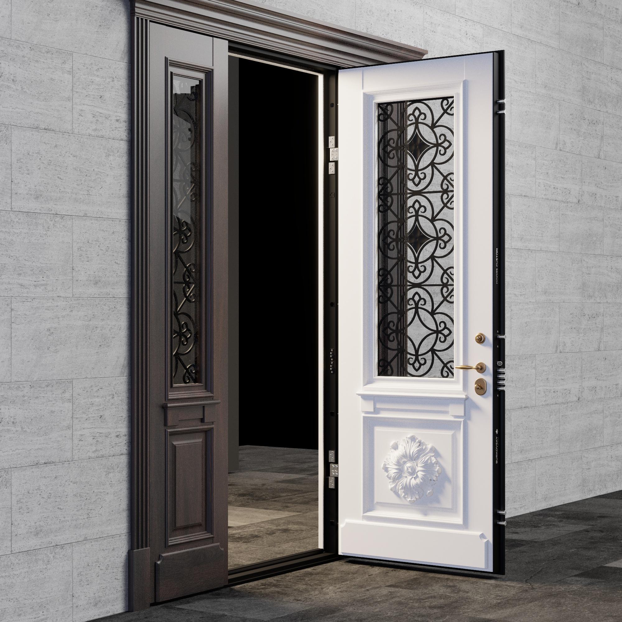 Входная дверь внутри - модель Flower с боковыми фрамугами со стеклопакетом и ковкой
